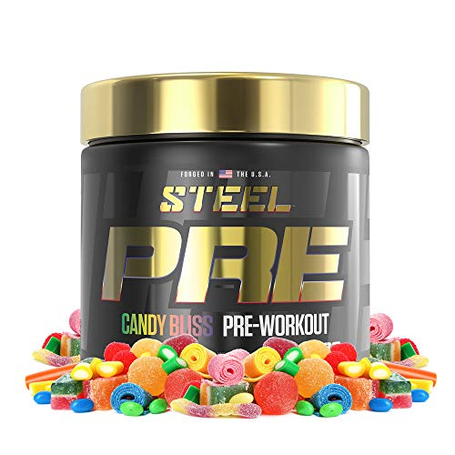 Steel Supplements PRE-Workout  Clean Energy   Intense Focus   PH Balanced Creatine   Antioxidant   Increased Pump   30 Servings (Candy Bliss)