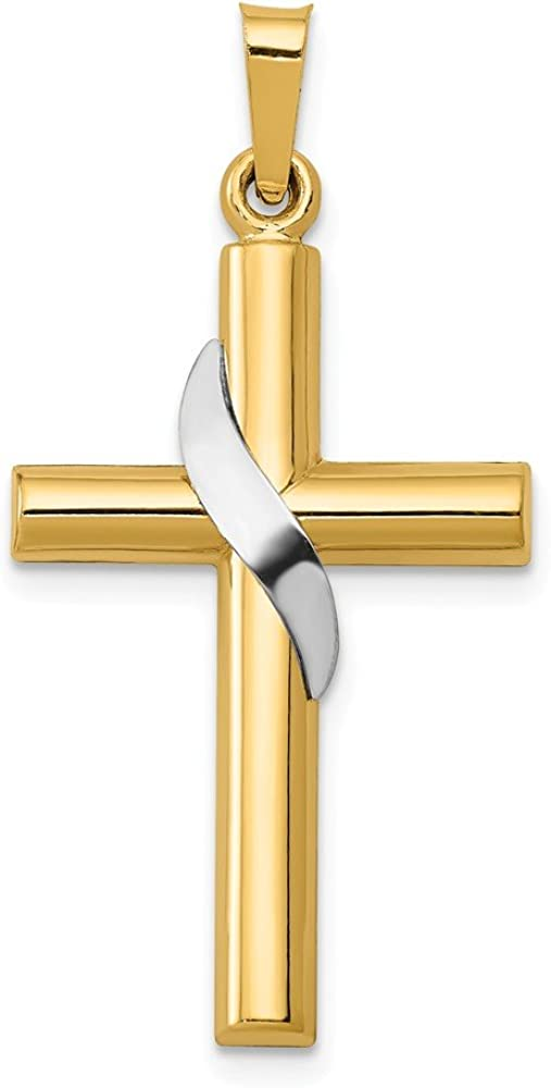 14k Yellow and White Gold Two Tone Cross Charm Pendant - 33mm x 16mm