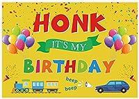 新しい7x5ftハッピーバースデー検疫背景Honk It s私の誕生日の庭の看板写真の背景キッズ子供ベビーシャワー誕生日パーティーケーキテーブルの装飾バナー写真撮影ブース小道具