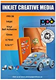 PPD Inkjet Glossy Creative'Premium Commercial Grade Tear Proof Vinyl Stickers LTR 8.5 x 11 4.7mil x 50 Sheets (PPD-36-50)