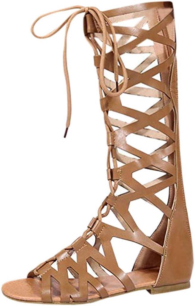 VEKDONE Women's Gladiator Sandals Flat,Summer Open Toe Crisscross Knee High Caged Flat Sandal Boot