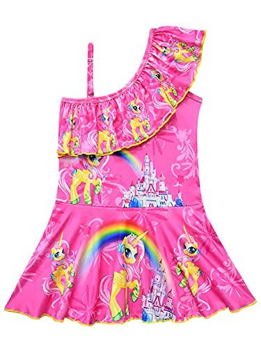 New front Traje de Baño de una Pieza para Niñas, Diseño de Unicornio Bañador para Niña Unicornio Ropa de Natación con Volantes para Vacaciones en la Playa Piscina Regalo