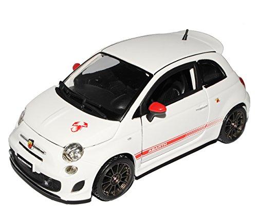 Bburago FIAT 500 Nuova Abarth Esseesse Weiss Graue Felgen Coupe 2007-2015 1/24 Modell Auto