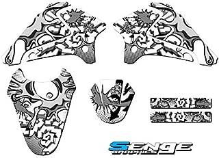 Senge Graphics kit compatible with Kawasaki 2003-2007 KLX 125, Zany White, Base Graphics Kit