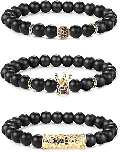 Milacolato 3PCS Crown King 8mm Charm Beads Bracelet for Men Women Natural Black Matte Onyx Stone Beads Bracelet