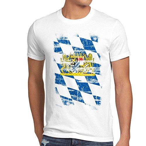 Bayern Vintage Flagge Herren T-Shirt München Oktoberfest Fussball FC, Größe:XL, Farbe:Weiß