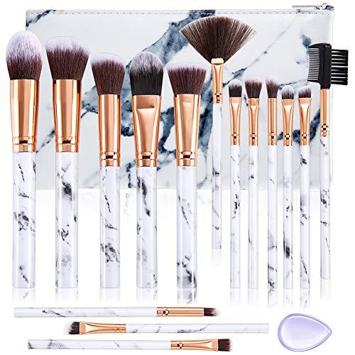 Pinceaux maquillage DUAIU 15Pcs Professional Premium Synthétique Fard à Paupières Synthétique Correcteur Sourcils Poudre Crème Liquide Mélange avec Marbre Cosmétique Sac