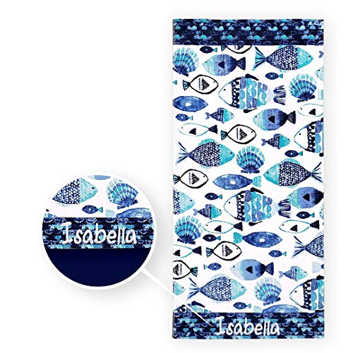 Kaufman - Personalized Beach Towels for Kids, 100% Absorbent Cotton, 30'' x 60'', Custom Embroidered Name (Fish)