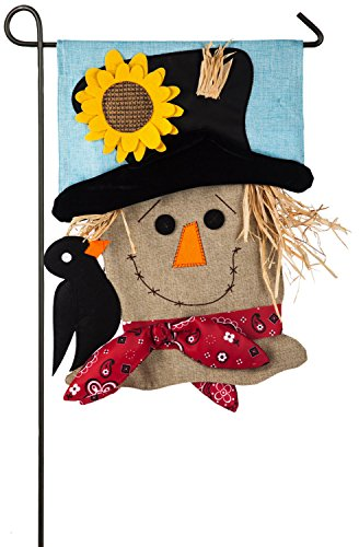 Evergreen Flag Scarecrow Season Burlap Garden Flag - 12.5 x 18 Inches Outdoor Decor for Homes and Gardens - FASHIONABLE YEAR-ROUND FLAIR: Beauty that matches that of nature. Dream about your garden surrounded by colorful blooms, your friends enjoying your outside space, and your beautiful new flag waving in the wind. This unbelievable item will be the perfect addition to your space year-round. UNIQUE DETAILS: Our decorative flag is all about the details. You'll enjoy a beautiful 3D scarecrow made of straw with a little crow bird perched on his shoulder. This flag brings color and life to your home as yellow and red hues shine in the sunlight. Made of burlap materials, you can be sure this product will last season after season! THE PERFECT FIT: This classic autumnal flag is ideal for gardens, patios, porches and yards of all shapes and sizes! It measures 18 x 0.5 x 12.5 inches. - living-room-decor, living-room, home-decor - 51AEg5B2RPL -