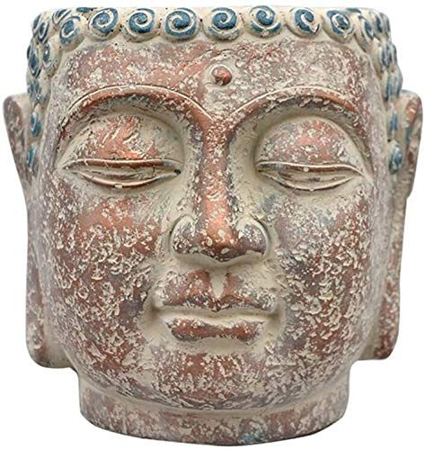 Desktop-Skulptur Blumentopf Stil Buddha Kopf Skulptur, Garten Kreative Buddha Statue Büste Statue Handwerk Modell Sukkulente Blumentopf Kreative Dekoration 20 * 22 cm