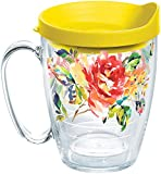 Tervis 1245526 Fiesta - Floral Bouquet Insulated Tumbler with Wrap and Yellow Lid, 16 oz Mug - Tritan, Clear
