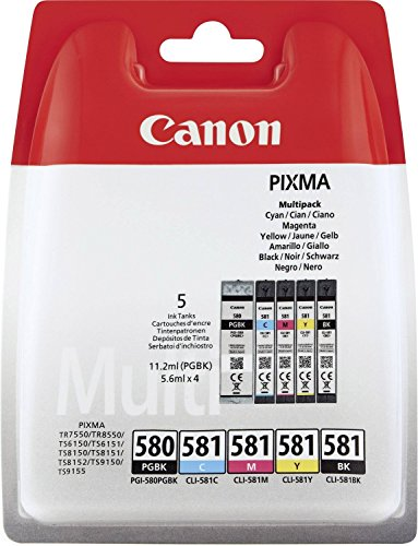 Canon Original PGI-580 PGBK, CLI-581 (C/M/Y/BK) Tintenpatrone – Schwarz (5 Stück)