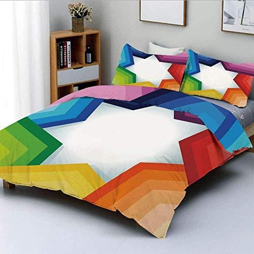 Einschließlich Bezug Und Kissen Bettwäsche Kit Bettbezug-Set, Regenbogenfarbene Streifen, die einen riesigen Stern formen Konzeptuelles Spektrum Moderne Kunst drucken dekorative 3-teilige Bettwäsche