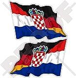 KROATIEN-DEUTSCHLAND Kroatisch-Deutsch Wehende Flagge, 120mm Auto & Motorrad Aufkleber, x2 Vinyl Stickers (Links - Rechts)