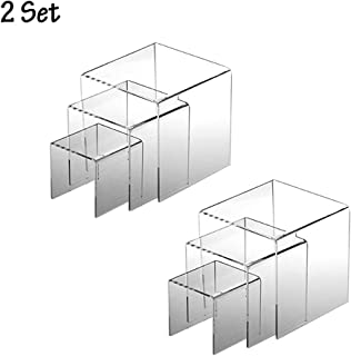Greatstar 3 Tier Acrylic Display Stand 2Set Transparent Ladder Display Stand Riser Stand Holder Removable Multi-Layer 3