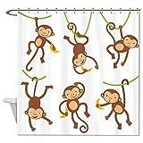 Duschvorhang von Rioengnakg aus wasserdichtem, schimmelresistentem Polyester mit frechen Affen als Muster , Polyester, #1, 72