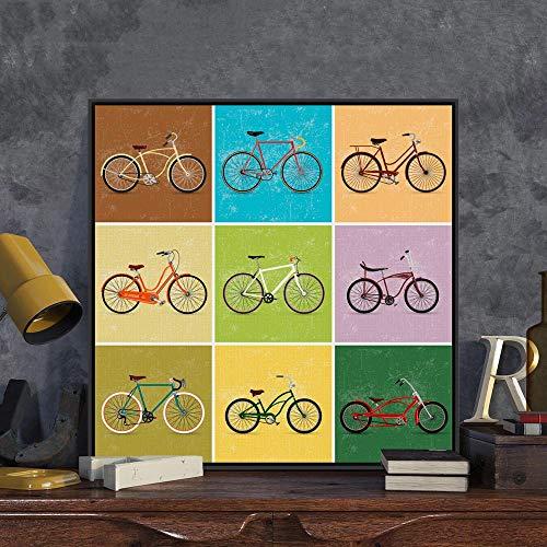 Puzzle 1000 Piezas Cuadro Decorativo Retro Simple Color Bicicleta Arte Imagen Puzzle 1000 Piezas paisajes Rompecabezas de Juguete de descompresión intelectual50x75cm(20x30inch)