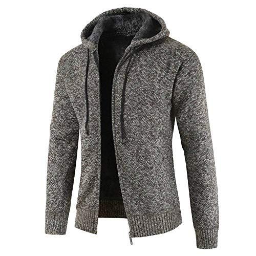 MUJOELE - Sudadera de invierno para hombre con capucha y forro de manga larga marrón L