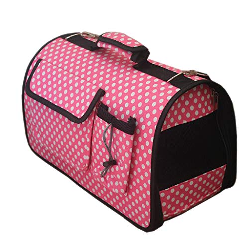 YULAN Outing Pet Box Cage Backpack Shoulder Cat And Dog Portable Travel Transport Car Shipping 3 Color 40 * 20 * 26cm (Color : Pink dots)