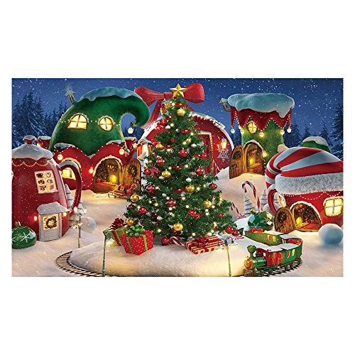 Funnytree Cartoon Christmas Village Photography Backdrop Winter Snow Pine Tree Background Xmas Fairy Tale Animated Kid Party Photo Booth Banner Supplies 5x3FT