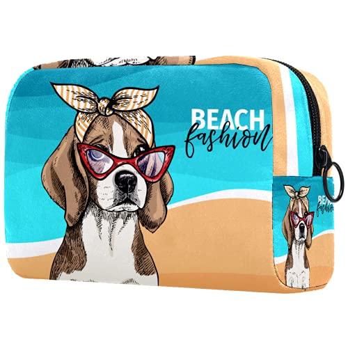 Neceser de Maquillaje para Mujer Bolso Organizador de Kit de Viaje cosmético,con Gafas de Sol Perro