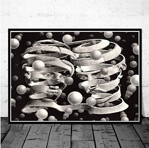 QINGRENJIE Gemälde Kunst Escher Surreal Geometrische Retro Vintage Kunstwerk Poster und Drucke Wandkunst Wandbilder für Wohnzimmer Home Decor 50X70 cm ohne Rahmen
