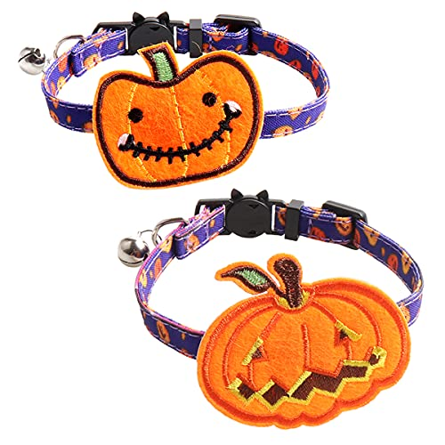 2PCS Halloween Cat Collars With Bells And Bow Ties Quick Release Safety...