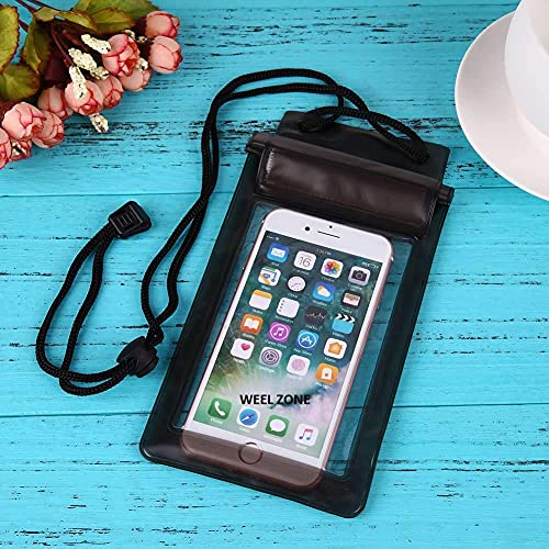 WEEL ZONE Three Layers Plastic Waterproof Sealed Transparent Mobile Bag Cover Fits for Any Android and iPhone Universal Size Mobile Phone (Transparent, Multicolour)