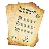 120 hojas DIN A4 Papel pergamino antiguo PREMIUM Doble Cara, alto gramaje 120g/m², 210x297 mm, bonito Envejecido Vintage, Escribir, Imprimir, Manualidades, Carta, recortes, invitaciones, minutas boda