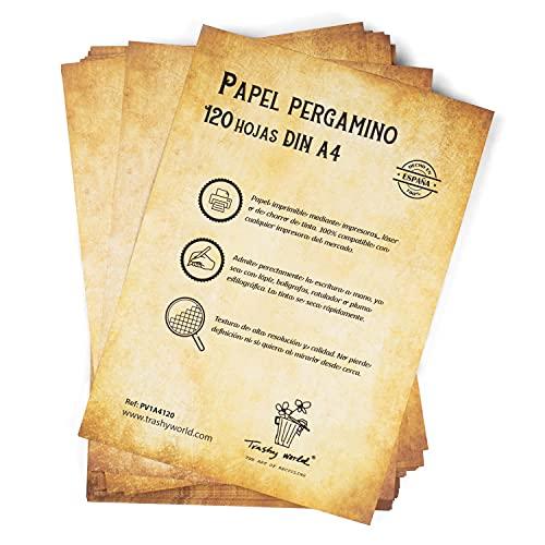 120 fogli DIN A4 di carta pergamena anticata double face, grammatura 120 g/m², 210 x 297 mm, bellissimo design vintage invecchiato, scrittura e stampa, artigianato, lettera, scrapbooking, matrimonio