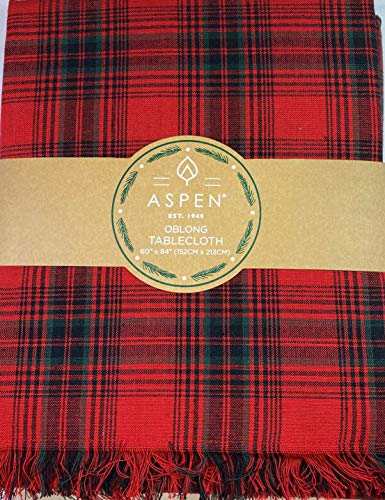 Aspen Home Christmas Plaid Fabric Tablecloth 100% Cotton Red 60 x 84