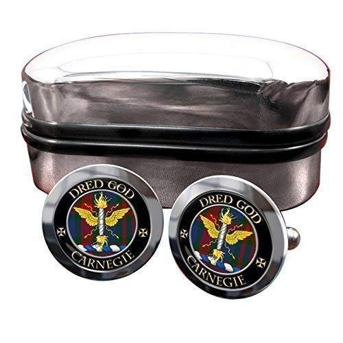 Carnegie Clan écossais pour homme Écusson Chrome Boutons de manchette avec coffret cadeau
