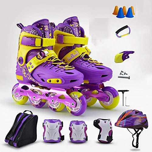 Best Review Of SSLLPPAA Inline Skates Children's Full Suit Men and Women Inline Skates Purple Protec...