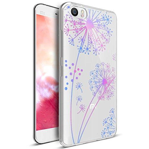 Kompatibel mit Xiaomi Mi5 Hülle,Xiaomi Mi5 Schutzhülle,Bunte Gemalte Mandala Blumen Transparent TPU Silikon Handyhülle Tasche Silikon Hülle Durchsichtig Schutzhülle für Xiaomi Mi5,Gradient Löwenzahn