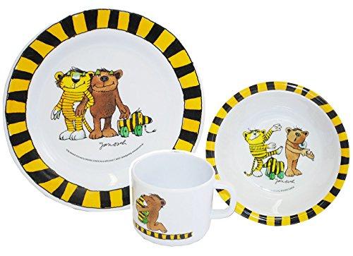 alles-meine.de GmbH 3 TLG. Geschirrset:  Janosch / Tigerente - Tiger & Bär - Melamin Set - Henkelbecher + Teller + Müslischale - Kindergeschirr - Frühstücksset / für Jungen Mäd..