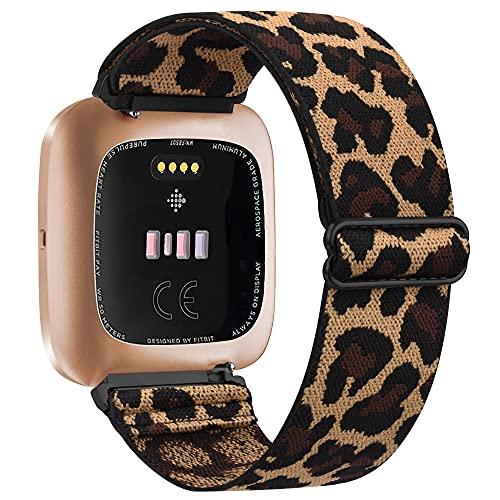Vancle Correa elástica compatible con Fitbit Versa pulsera/Fitbit Versa 2, correa ajustable de nailon extensible, correa de repuesto para Fitbit Versa/Versa 3/Versa Lite (leopardo)