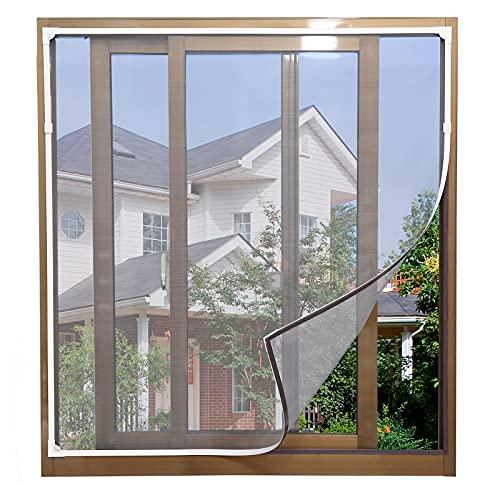 YUZZY DIY Moustiquaire magnétique réglable pour fenêtre - max 130 x 150 cm - Peut être coupé - Facile à installer- Maille en fibre de verre, pas besoin de perforer (Filet gris cadre blanc)