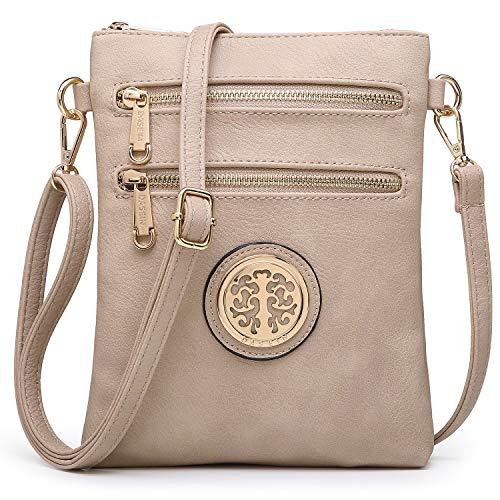 Dasein Medium Crossbody Bags for Women Handbag Lightweight Crossbody Purses with Multi Pockets (Beige)