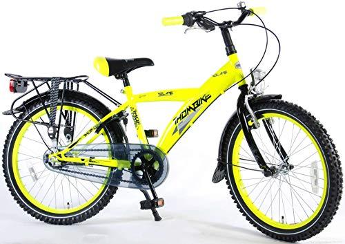 .Thombike City Kinderfahrrad Jungen 20 Zoll Shimano Nexus 3-Gang-Getriebe Gepäckträger Gelb Fluoreszierend 95% Zusammengebaut