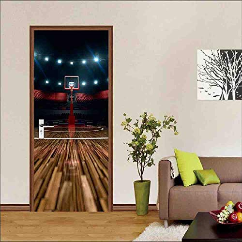 LLHBDA2 Platten Korb Spielplatz Wandkunst Bild Wandaufkleber Tür Aufkleber Tapete Aufkleber Dekoration,95x215cm