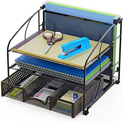 SimpleHouseware Desk Organizer 3 Tray w/Sliding Drawer and Hanging File Holder