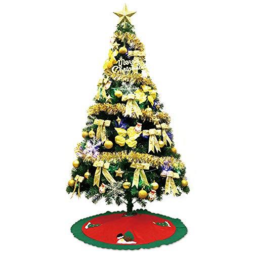 MIMI KING Arbre De Noël Artificiel De 8,8 Ft 1700 Bouts avec La Jupe Rouge d'arbre, Ornements Respectueux De l'environnement, Lumières Colorées De Corde Et Stand en Métal,Gold