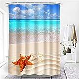 XCBN Hamaca de Playa Palmera Paisaje Junto al mar Decoración de baño Cortinas de baño Cortinas de Ducha Impermeables A43 180x180cm