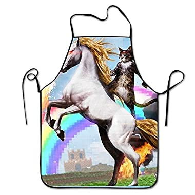 TTTFU Funny Cute Cat Dressed As Rambo With Gun Riding A Glowing Red Eyes Fire Breathing Unicorn Apron For Women And Men Durable Comfortable Bib Chef Kitchen Aprons