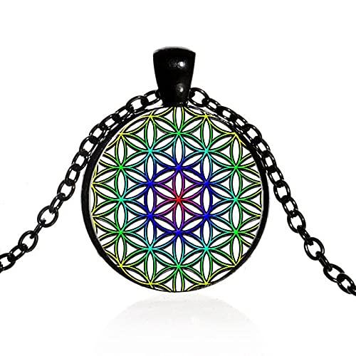 Collar De Flor De La Vida Chakra Colgante De Flor Mandala Collar De Geometría Sagrada Cabujón Gema Joyería Espiritual