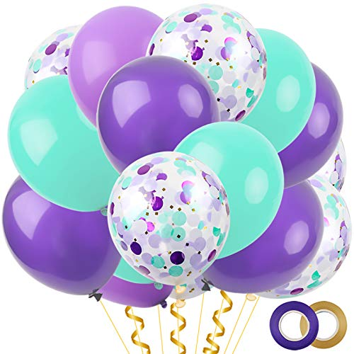 RUBFAC 60pcs Mermaid Latex Balloons, 12 Inches Mixed Confetti Balloons, Seafoam Blue Balloons and Purple Balloons, for Mermaid Parties, with 2 Rolls of Ribbon