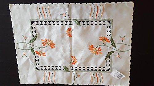 Linge de table Nappe rectangulaire 100% polyester 1591–05129 Set de table blanc/fleurs Orange 35 x 50 cm