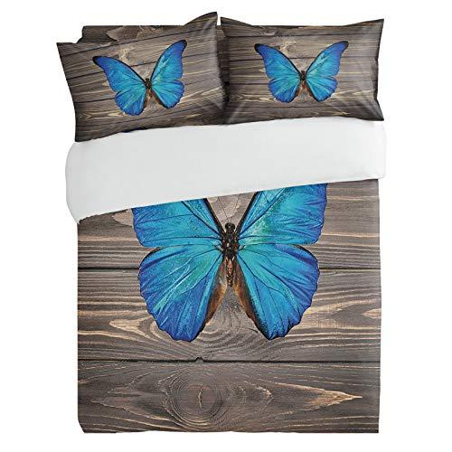 SUN-Shine 3PiecesBeddingDuvetCoverSet Natural Animals Blue Butterfly, SuperSoftLuxuryQuiltCoversandPillow CasesforKids/Teens/Adults/Men/Women BedroomDecor, Retro Wood Board