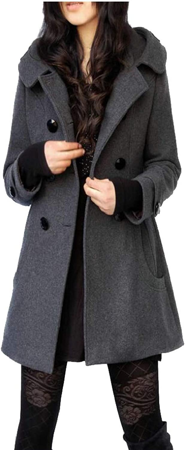 Desolateness Women's Pea Coat Double Breasted Outerwear Hoodie Jacket