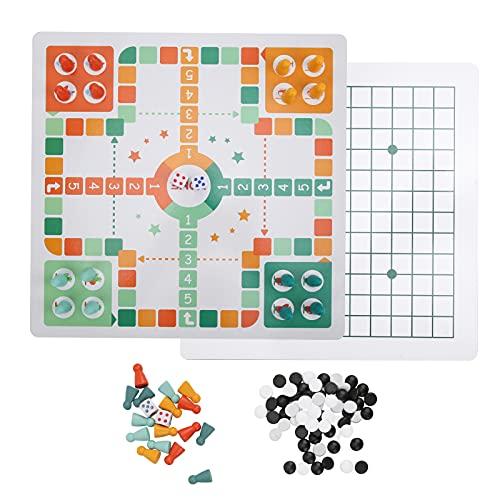 Juego de Mesa 2 en 1 para niños, Tablero de ajedrez de Juguete de Madera, Juego de Mesa Ludo + Juego de Gobang (Cinco en Fila), Juego de Mesa para Fiesta Infantil